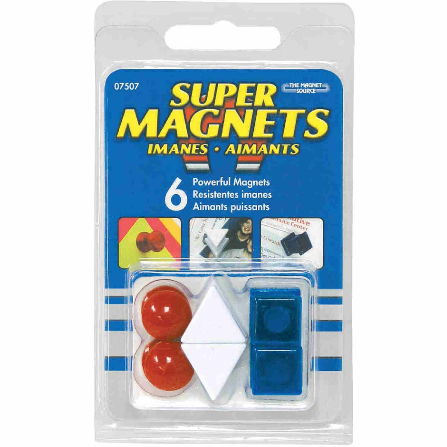 Master Magnetics 5/8 In. H. Red/White/Blue Plastic Magnetic Note Holder Push Pins (6-Pack) Image 2
