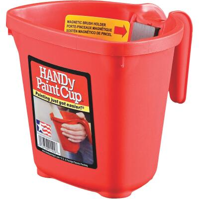 HANDy Paint Cup 1 Pint Red Painter's Bucket with Hand Rest and Magnetic Brush Holder